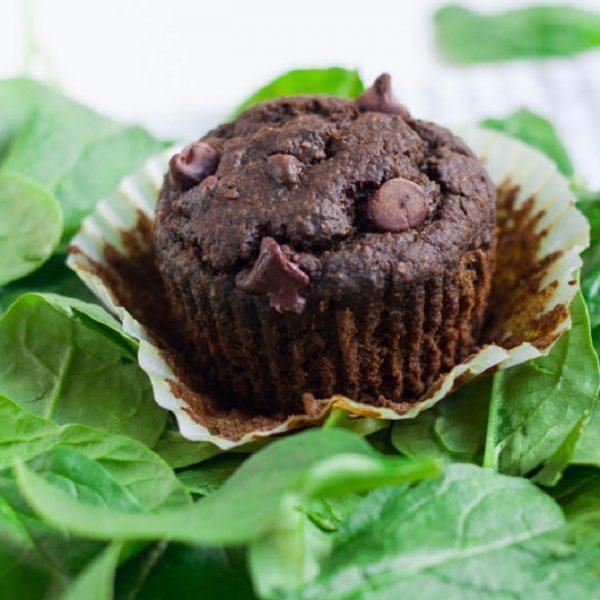 Muffins σοκολάτας με κρυμμένο σπανάκι