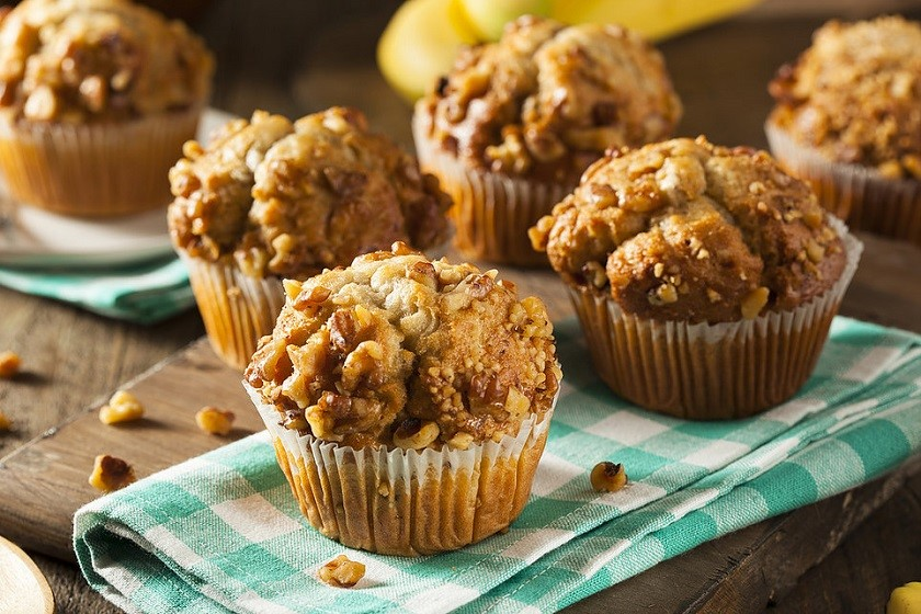 muffins με μπανάνα και βρώμη