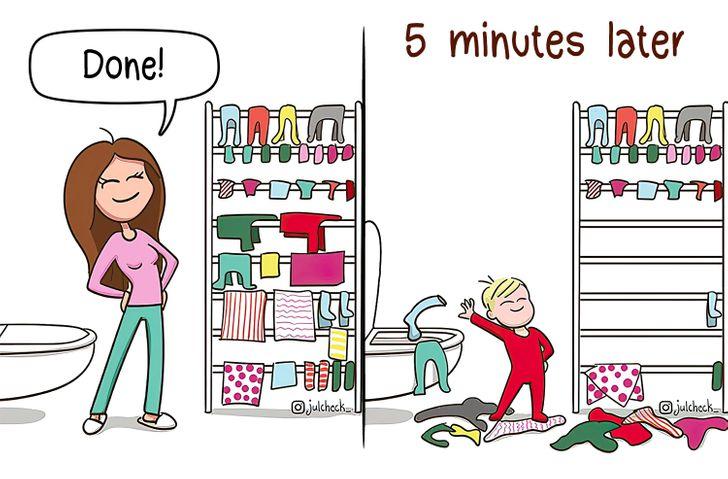10 σκίτσα που αποδεικνύουν ότι η μητρότητα είναι μια ατελείωτη περιπέτεια