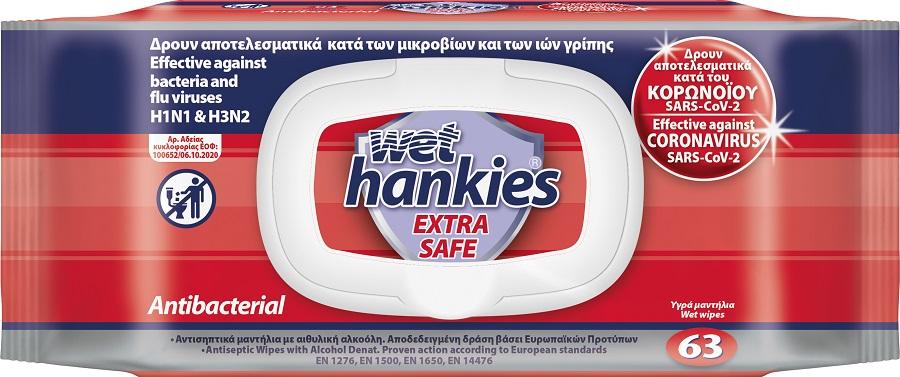 Wet Hankies Antibacterial Extra Safe